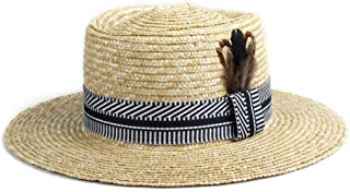 Sun Hat for men and women Classic Straw Hat Sun Hat Straw Summer Cloth Decoration Peacock Feather Decoration Sun Hat Men Women Beach Sun Hat Panama Hat