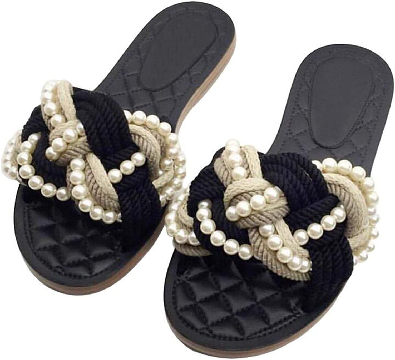 Beading flip Flops Ladies Sandals Modern Fancywork Mixed colors Rope Knitting Slippers Slides Women