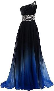 W&TT El gradiente de Las Mujeres Color con Cuentas Prom Vestidos de Fiesta de la Noche del Partido de Baile Vestido Largo,Blue,14