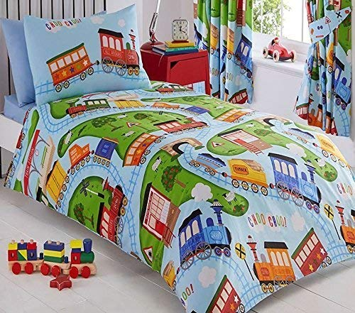 Kids Club Trains Bed Duvet Cover and Pillowcase Set, Polyester-Cotton, Blue