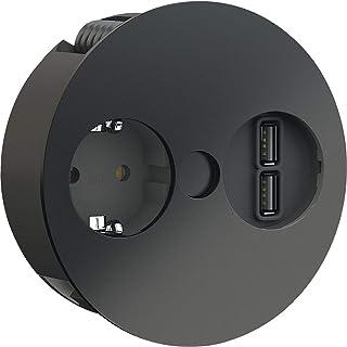 Bachmann 931.131 Twist 1xCEE7/3 1 x USB-laddare ström 2,0 m AEH,RAL9005 30GE