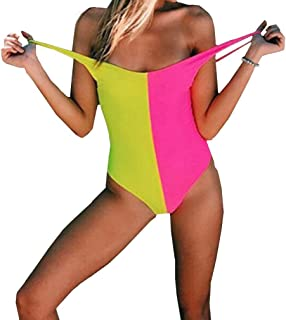 Women's Sexy Low Cut Backless Two-Color Contrast Color Teens Stretch Monokini One Piece Swimsuits Swimwear