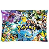 Custom Pokemon Pikachu Rectangle Standard Size Zippered Bedding Set Kissenbezug Pillow Case 20*30 Two Sides Number-39