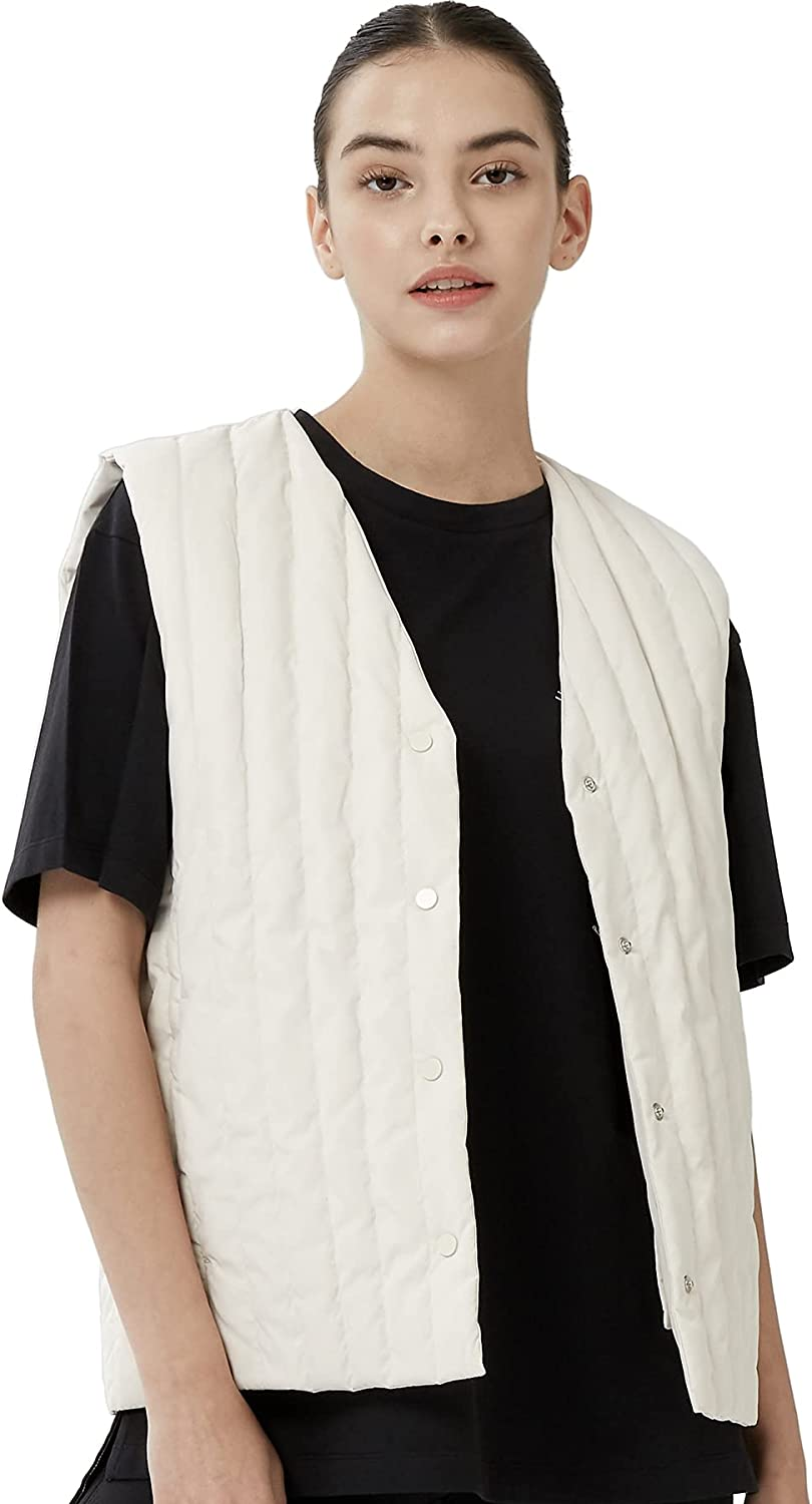 OFF THE DOOR Womens Classic Button-Down Quilted Reversible Vest Jacket