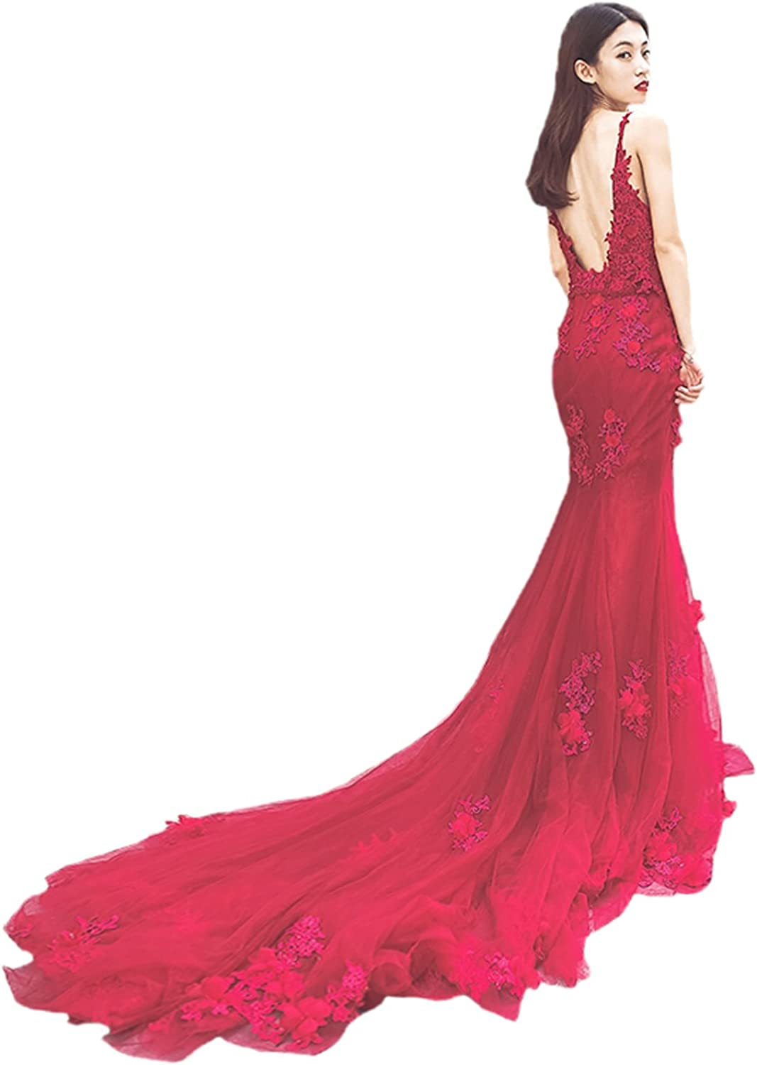 CIRCLEWLD Tulle Mermaid Evening Dresses for Women Wedding Lace Appliques Flowers Long EV115