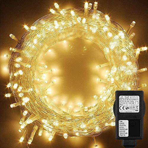 WOWDSGN 20M 200 LEDs Lichterkette, Warmweiß, 8 Leuchtmodi Dimmbar, Strombetrieben mit EU Stecker, IP44 Wasserdicht, Lichterkette für Party, Feier, Hochzeit, Weihnachtsbeleuchtung für Innen und Außen