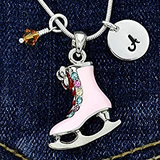Figure Ice Skate Personalized Pink Pendant Necklace Hand Stamped Round Initial Letter Charm Sparkling Crystals Birthstone Charm Chain Custom Gift Jewelry