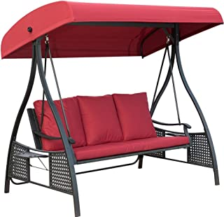 PatioPost Outdoor Swing Chair, Seats 3 Porch Patio Swing Glider with Durable Stee Frame and Padded Cushion, Red