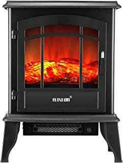 16Inch Panoramic Electric Fireplace Heater Stove,3D Rolling Flame Effect,1800W Portable Flame Thermostat