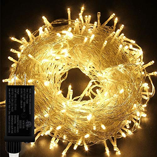 LiyuanQ Indoor Christmas String Lights 66ft 200 LED Christmas Tree Lights Plug in 8 Modes Waterproof Twinkle Fairy Lights with Memory UL Certified Power Supply for Christmas Indoor Decor (Warm White)