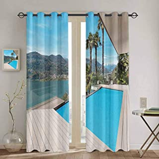 Room Darkened Heat Insulation Curtain House Decor Collection for Living Room or Bedroom Modern House Beautiful Patio with Pool Outdoor Wooden Deck Timber Residence Photo Print W84 x L96 Inch