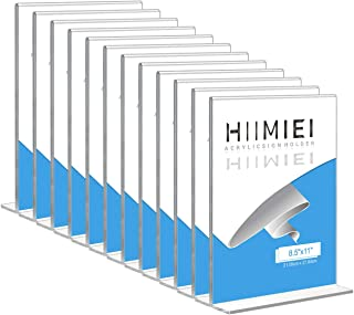 HIIMIEI 12 Pack 8.5x11 Acrylic Sign Holder Table Menu Display Stand, Clear Plastic Double Sided Ads Picture Frames Holder
