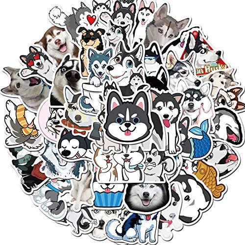 SHUYE Pegatinas de Dibujos Animados de Husky, Lindo Animal, Perro, Maleta, monopatín, Pegatina para teléfono móvil, Pegatina Genial para Ordenador para Mascotas, 50 Uds.