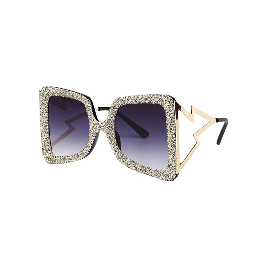 Oversize Sunglasses Women Big Wide Temple Bling Stones Shades Vintage Brand Glasses