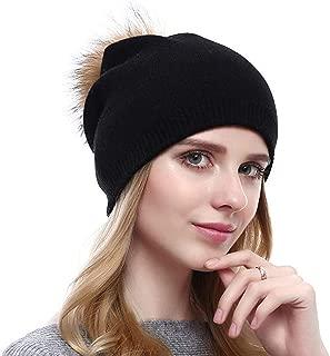Ausexy_ Women Chunky Soft Stretch Cable Knit Warm Fuzzy Lined Beanie Winter Cashmere Hairball Pom Pom Hat Cap