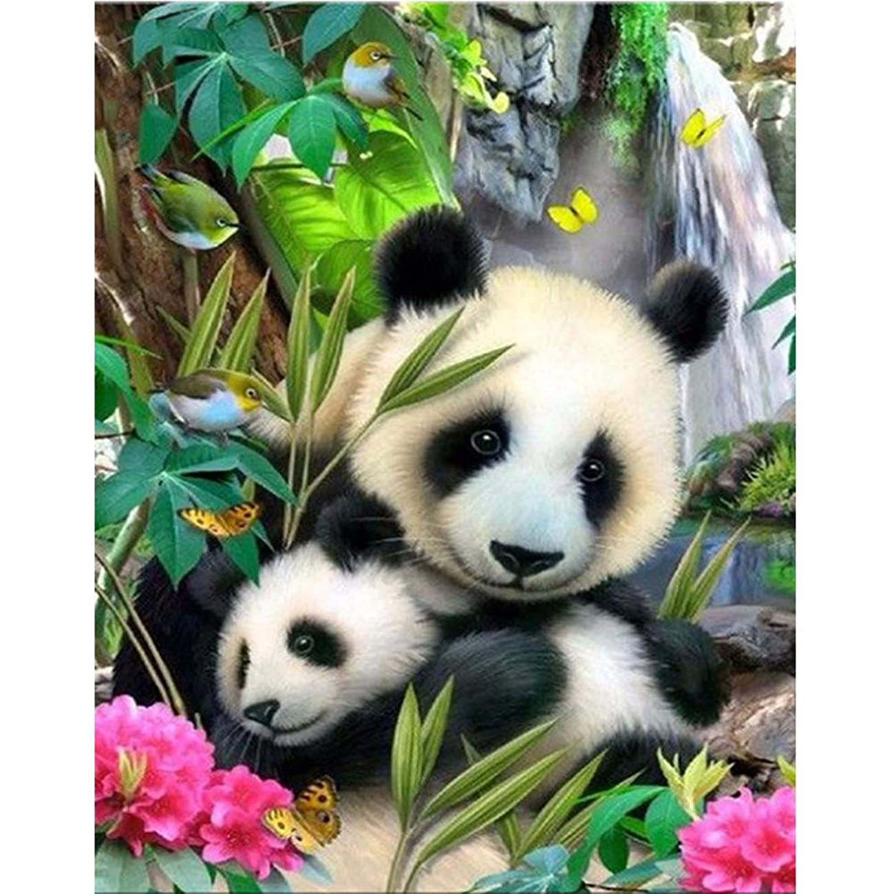 DIY 5D Diamond Painting Kit,Full Drill Round Drill Rhinestone Animal Panda Painting Living Room Study Shower Room Painting Wall Home Decoration Christmas Gift Cross Stitch Art Craft Work