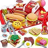 Buyger 63 Stück Kinder Küchenspielzeug Hamburger Lebensmittel Schneiden Gemüse Spielset Lernspielzeug Rollenspiele für Kinder