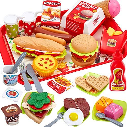Buyger 63 Pezzi Cucina Cibo Finto Alimenti Hamburger Giocattoli Giochi di Ruolo per Bambini 3 4 5 Anni