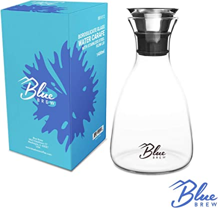Blue Brew BB1012 47oz Borosilicate Glass Water Carafe w/Stainless Steel Flow Lid