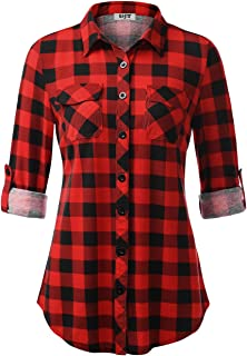 Women's Roll Up Long Sleeve Collared Button Down Plaid Shirt