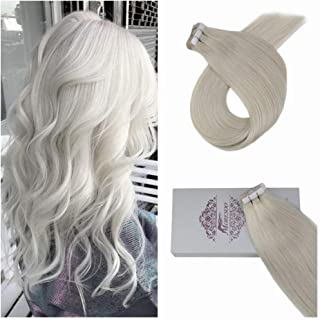 Moresoo 16 Inch Remy Hair Extensions Tape on Human Hair Soft Real Hair Extension 50 Grams 20 Pieces Per Pack Blonde #60A Tape in Hair Extension Hair Seamless Skin Weft