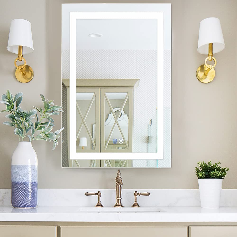 Buy Chende 20 X 28 Inches Led Bathroom Mirror For Wall Defogging Bathroom Vanity Mirror With Lights Dimmable Large Frameless Wall Mirror Horizontal Vertical Hanging Online In Indonesia B08723j5m3