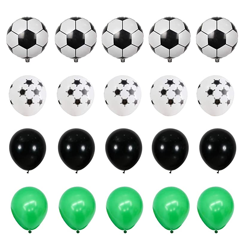 GIHOO 40pcs Soccer Party Supplies - 18inch Foil Soccer Balloon, 12inch Soccer Latex Balloon, 12inch Black & Green Latex Balloon for Football Party Decoration Kids Boy Birthday Party (Soccer)