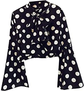 Zimaes Womens Stand-up Collar Bow Fashion Long-Sleeve Polka Dots Tops