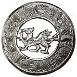 AAR Scottish Kilt Fly Plaid Brooch Welsh Dragon Antique/Chrome Finish 3' (7cm) (Silver) T