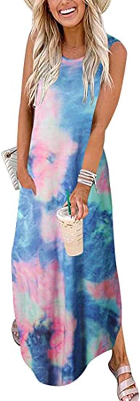 Tavorpt Summer Dresses for Women, Women's Casual V Neck Plain Tie Dye Maxi Long Dress Cami Tank Dress Beach Sundress