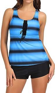 Zexxxy Women Two Piece Swimsuit Push Up Tankini Color Block Print Racerback Sports Bathing Suit with Boyshorts