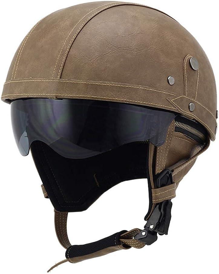 TYYCKJ Gafas de Cuero para Cascos de Motocicleta, Cascos Antiguos, Motocicleta, Motociclista, Crucero, Scooter, Turismo (marrón con Lente de Sol desplegable)