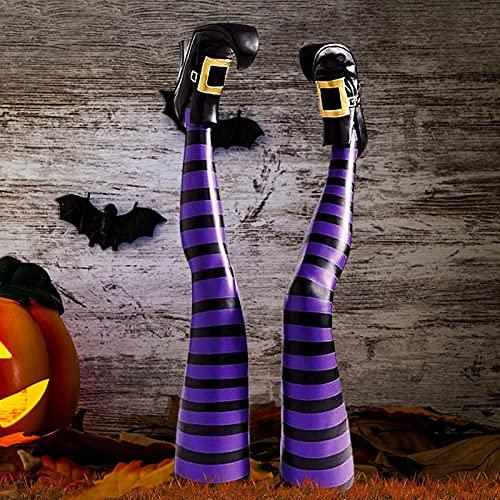 Accesorios De Halloween,Piernas De Bruja De Halloween Pies De Brujas Malvadas,Colgante para Colgar Horrible Piernas De Bruja,Decoración De Adorno Para Exteriores,Interiores, Decoraciones De Halloween