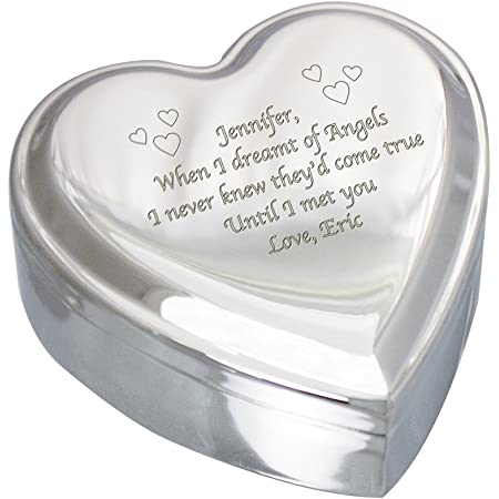 Jewelry Box Heart Shaped With Hidden Drawers Engraved Heart Jewelry Box Anniversary Gift Wedding Gift.