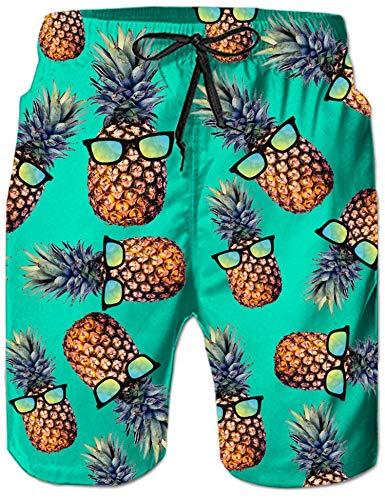 Rave on Friday Herren Badehosen Ananas Sommer Badeshort 3D Drucken Schwimmhosen Schnell Trocknend Kurze Hosen Hawaii Strand Surf Board Shorts M