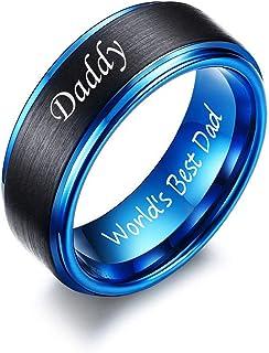 VNOX نجستن بلونين Daddy World's Best Dad محفورة خواتم زفاف هدية عيد ميلاد للرجال أبي