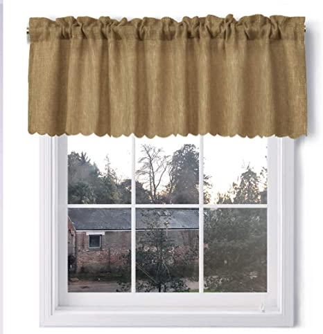 Amazon Com Vortta Burlap Look Valance Curtains Soft Natural Rustic Tan Kitchen Curtains Valance With Scalloped Floral Hem 56 Inch By 18 Inch Home Kitchen