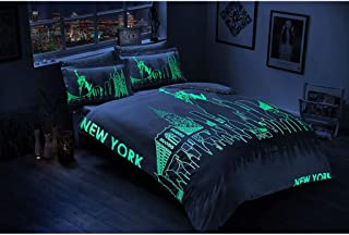 TAC 100% Cotton Sateen Bedding Duvet Cover Set Double Queen Size New York City Bed Bedding Comforter Set with Glowing Effect 1x Duvet Cover + 1x Bed-Sheet + 4X Pillowcase