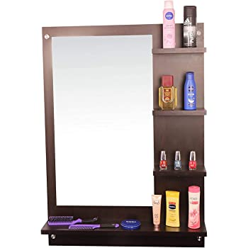 Dime Store Wall Mirror with Shelf for Living Room Bedroom Dressing Mirror for Wall Decor (Standard, Brown)