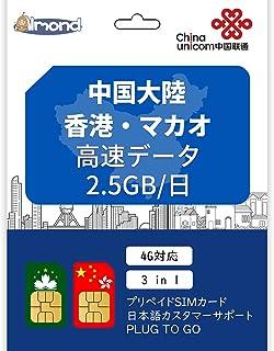 中国大陸・香港・マカオ SIMカードプリペイドSIMカード 4G高速データ通信 一日のデータ量を2.5GB データ通信 プリペイドSIMカード (15日間)