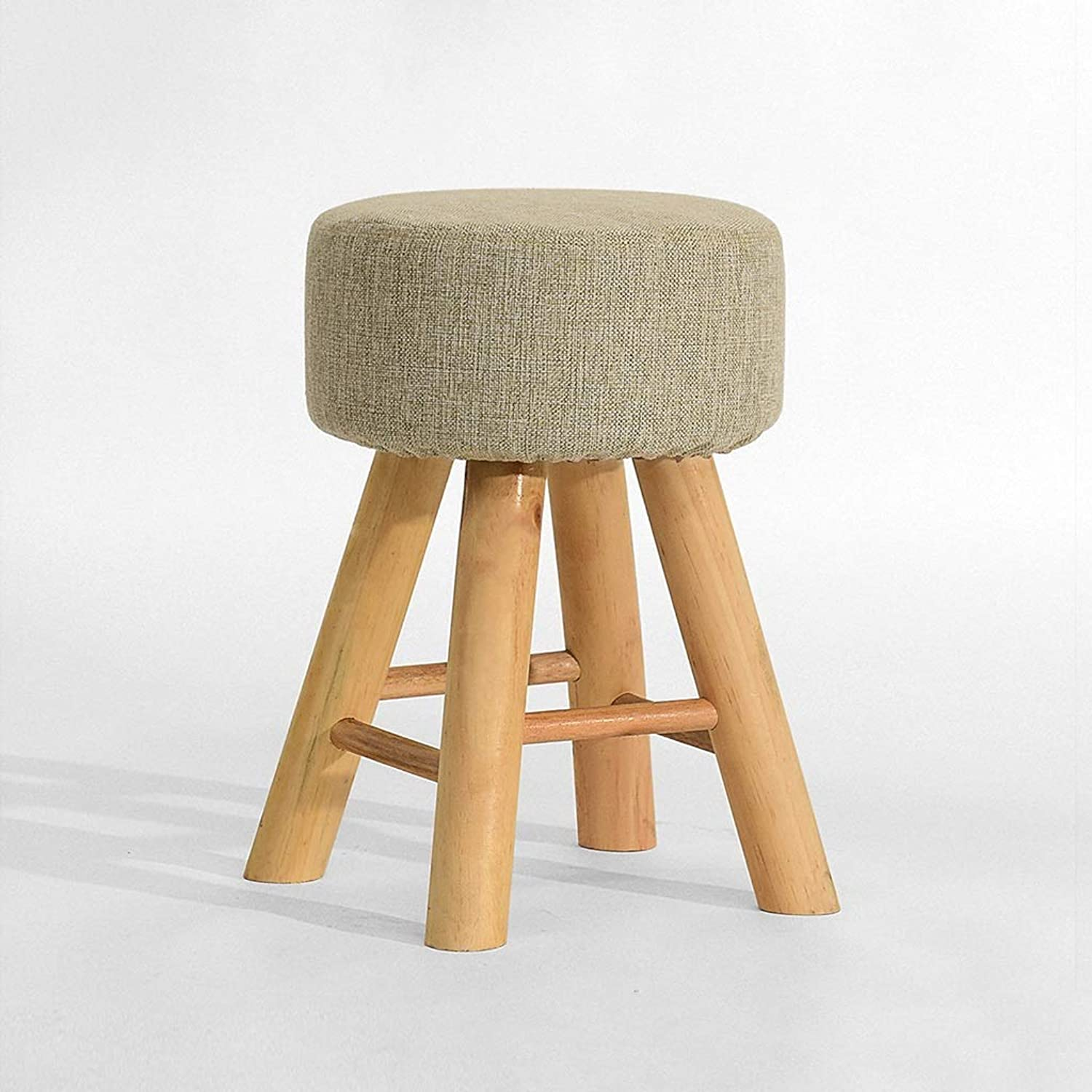 CXQ Fashion Creative Stool Solid Wood Dining Stool Dressing Stool Home Bench Round Stool (color   Plain color)