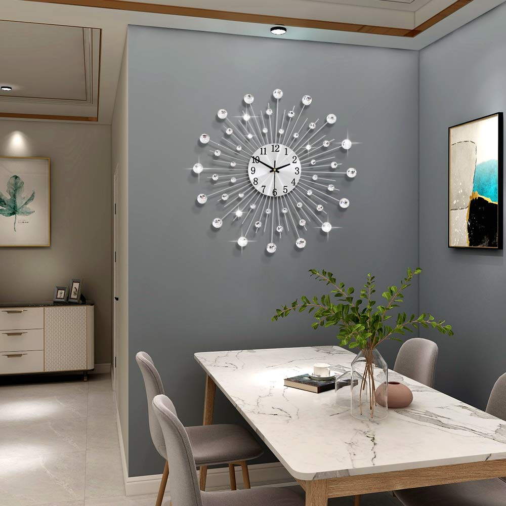 JUJUDA Large Wall Clocks for Living Room Decor Extra Modern Big Silent Wall Clocks for Home Kitchen Bedroom Indoor Decorative Giant Crystal Wall Clock Non Ticking Battery Operated Quartz for Bathroom
