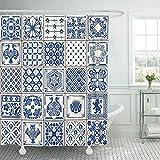 Duschvorhänge / Badvorhänge, Fabric Shower Curtain Curtains Indigo Portugal Lisbon Paint Floor Oriental Spain Collection Abstract Spanish Tin Ceramic Work Vintage Waterproof Decorative Bathroom
