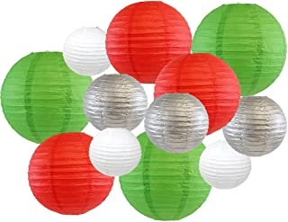 Just Artifacts Decorative Round Chinese Paper Lanterns 12pcs Assorted Sizes & Colors (Color: Christmas)