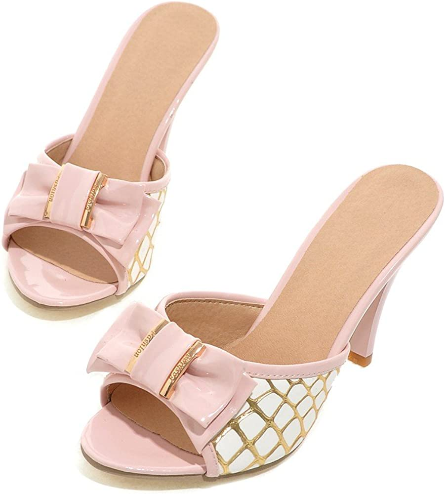 Women Casual High Heel Slip on Dress Sandals Open Toe Bowknot Sweet Sandals Slides for Lady
