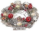 Corona de adviento de madera, redonda, 29x 8cm, con vasos portavelas y decoración navideña, color rojo.