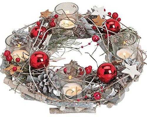 matches21 Adventskranz aus Holz rund 29x8 cm mit Gläsern als Teelichthalter & weihnachtlicher Dekoration in rot