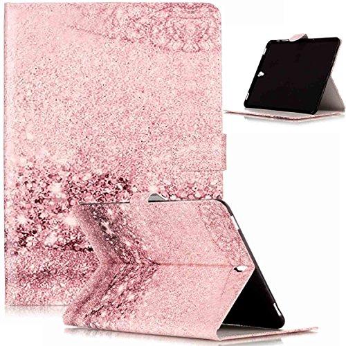 Galaxy Tab S29.7Funda, Galaxy Tab S39.7cover, ikasus mariposa flores mármol pintado patrón piel sintética plegable tipo cartera, funda de piel tipo cartera con función atril tarjeta de Crédito ID