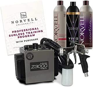 Norvell Sunless Kit - Z3000 Professional Mobile HVLP Spray Tan Airbrush Machine System + 8 oz Tanning Solutions in Ultra Vivid 'Cosmo', Venetian & Dark + Norvell Training Program (Retail Value $1,150)