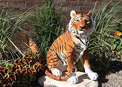 """Ebros Large 20"""" Tall Realistic Orange Bengal Tiger Raja Sitting On Guard Decorative Resin Statue As Guest Greeter Welcome Home Decor Figurine As Jungle Giant Cat Apex Predator Sculpture"""